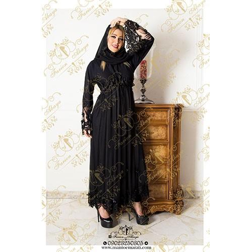 لباس مروارید دوزی مشکی طوری باآستری مرغوب
