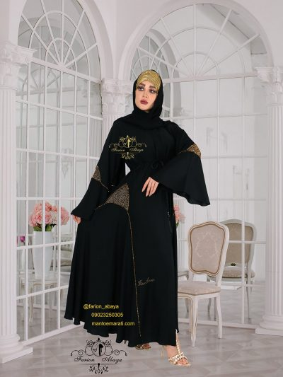 مانتو عربی اماراتی مجلسی جلو باز کمردار مدل 288