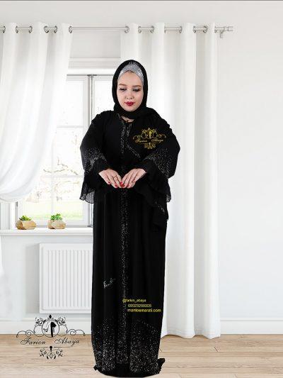 مانتو مجلسی اماراتی سنگدار جلو باز مدل 293